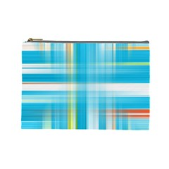 Lines Blue Stripes Cosmetic Bag (large)  by Mariart