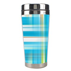 Lines Blue Stripes Stainless Steel Travel Tumblers by Mariart