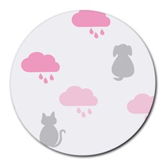 Raining Cats Dogs White Pink Cloud Rain Round Mousepads