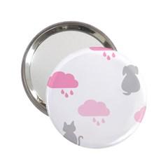 Raining Cats Dogs White Pink Cloud Rain 2 25  Handbag Mirrors by Mariart