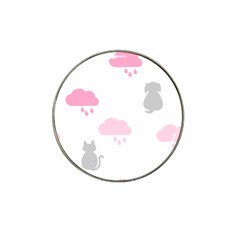 Raining Cats Dogs White Pink Cloud Rain Hat Clip Ball Marker (10 Pack) by Mariart