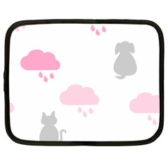 Raining Cats Dogs White Pink Cloud Rain Netbook Case (large) by Mariart