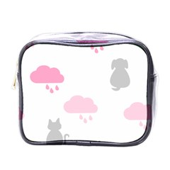 Raining Cats Dogs White Pink Cloud Rain Mini Toiletries Bags by Mariart