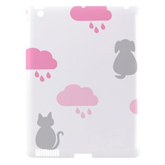 Raining Cats Dogs White Pink Cloud Rain Apple Ipad 3/4 Hardshell Case (compatible With Smart Cover) by Mariart
