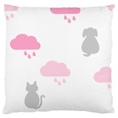 Raining Cats Dogs White Pink Cloud Rain Large Cushion Case (two Sides) by Mariart