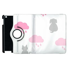Raining Cats Dogs White Pink Cloud Rain Apple Ipad 3/4 Flip 360 Case by Mariart