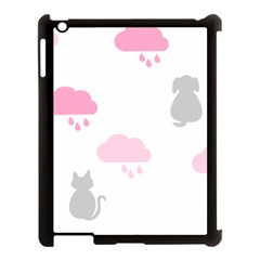 Raining Cats Dogs White Pink Cloud Rain Apple Ipad 3/4 Case (black) by Mariart