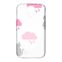 Raining Cats Dogs White Pink Cloud Rain Samsung Galaxy S4 Classic Hardshell Case (pc+silicone) by Mariart