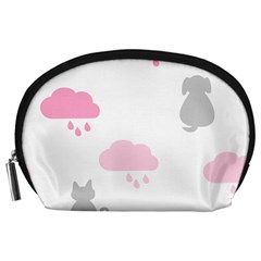 Raining Cats Dogs White Pink Cloud Rain Accessory Pouches (large)  by Mariart