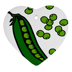 Peas Green Peanute Circle Ornament (heart) by Mariart
