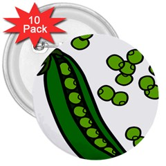 Peas Green Peanute Circle 3  Buttons (10 Pack)  by Mariart