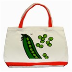 Peas Green Peanute Circle Classic Tote Bag (Red) Front