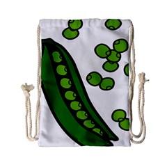 Peas Green Peanute Circle Drawstring Bag (small) by Mariart