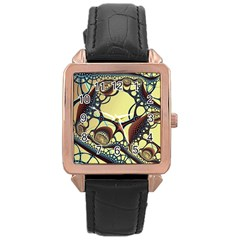Labels Net Circle Brown Rose Gold Leather Watch  by Mariart