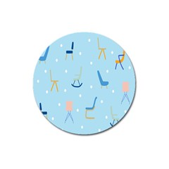 Seat Blue Polka Dot Magnet 3  (round) by Mariart