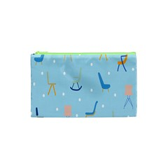 Seat Blue Polka Dot Cosmetic Bag (xs) by Mariart