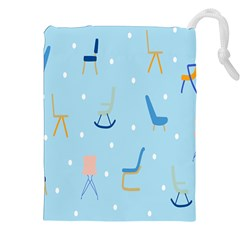 Seat Blue Polka Dot Drawstring Pouches (xxl) by Mariart