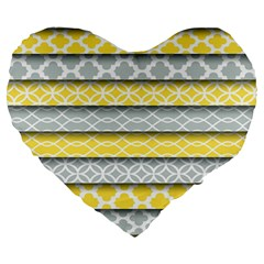 Paper Yellow Grey Digital Large 19  Premium Heart Shape Cushions by Mariart