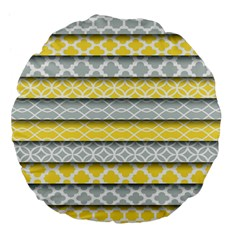 Paper Yellow Grey Digital Large 18  Premium Flano Round Cushions by Mariart