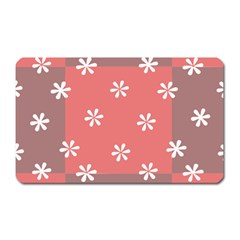 Seed Life Seamless Remix Flower Floral Red White Magnet (rectangular) by Mariart