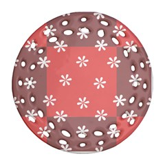 Seed Life Seamless Remix Flower Floral Red White Round Filigree Ornament (two Sides) by Mariart