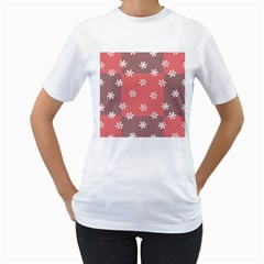Seed Life Seamless Remix Flower Floral Red White Women s T Shirt (white)  by Mariart