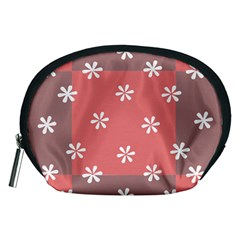 Seed Life Seamless Remix Flower Floral Red White Accessory Pouches (medium)  by Mariart