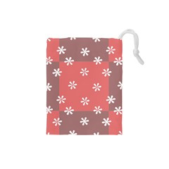 Seed Life Seamless Remix Flower Floral Red White Drawstring Pouches (small)  by Mariart