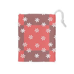 Seed Life Seamless Remix Flower Floral Red White Drawstring Pouches (medium)  by Mariart