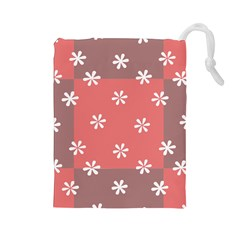 Seed Life Seamless Remix Flower Floral Red White Drawstring Pouches (large)  by Mariart