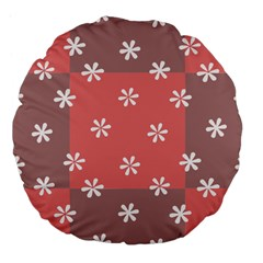 Seed Life Seamless Remix Flower Floral Red White Large 18  Premium Flano Round Cushions by Mariart