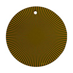 Stripy Starburst Effect Light Orange Green Line Ornament (round)