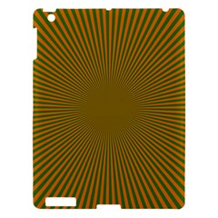 Stripy Starburst Effect Light Orange Green Line Apple Ipad 3/4 Hardshell Case by Mariart
