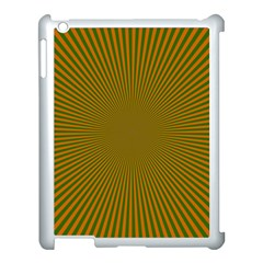Stripy Starburst Effect Light Orange Green Line Apple Ipad 3/4 Case (white) by Mariart