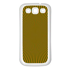 Stripy Starburst Effect Light Orange Green Line Samsung Galaxy S3 Back Case (white) by Mariart