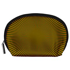 Stripy Starburst Effect Light Orange Green Line Accessory Pouches (large)  by Mariart