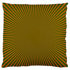 Stripy Starburst Effect Light Orange Green Line Large Flano Cushion Case (two Sides) by Mariart