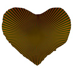 Stripy Starburst Effect Light Orange Green Line Large 19  Premium Flano Heart Shape Cushions by Mariart