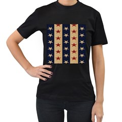 Stars Stripes Grey Blue Women s T Shirt (black) (two Sided) by Mariart