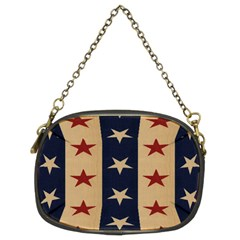Stars Stripes Grey Blue Chain Purses (two Sides)  by Mariart