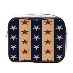 Stars Stripes Grey Blue Mini Toiletries Bags by Mariart