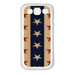 Stars Stripes Grey Blue Samsung Galaxy S3 Back Case (White)