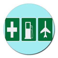 Traffic Signs Hospitals, Airplanes, Petrol Stations Round Mousepads by Mariart