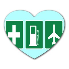 Traffic Signs Hospitals, Airplanes, Petrol Stations Heart Mousepads by Mariart