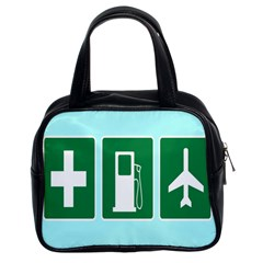 Traffic Signs Hospitals, Airplanes, Petrol Stations Classic Handbags (2 Sides) by Mariart