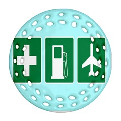 Traffic Signs Hospitals, Airplanes, Petrol Stations Round Filigree Ornament (two Sides) by Mariart