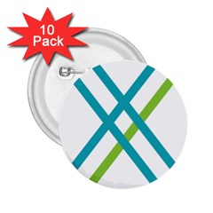 Symbol X Blue Green Sign 2 25  Buttons (10 Pack)  by Mariart