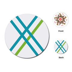 Symbol X Blue Green Sign Playing Cards (round)  by Mariart