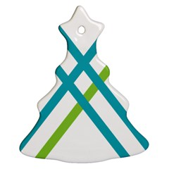Symbol X Blue Green Sign Ornament (christmas Tree)  by Mariart