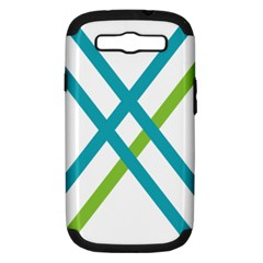 Symbol X Blue Green Sign Samsung Galaxy S Iii Hardshell Case (pc+silicone) by Mariart